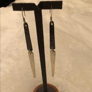 Jewelry - Two tone Silver Dangle Earrings, oxidized & shiny